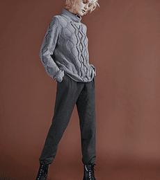 Sweater lana tejido grueso cuello alto y perlas