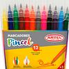 Marcador punta pincel 12 colores Artel