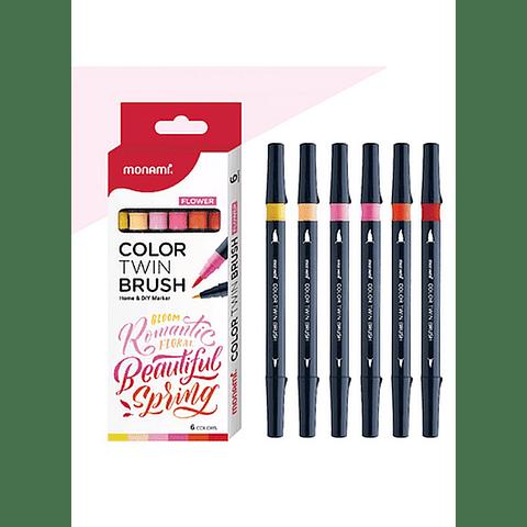 Marcadores 6 colores (flores) doble punta pincel