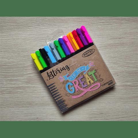 Lápiz para lettering 12 colores artel