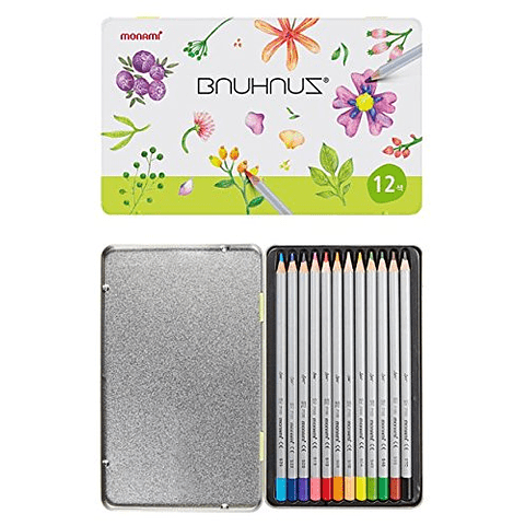 Lápices 12 colores caja metálica monami