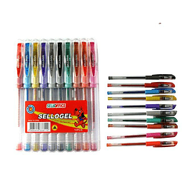 Set boligrafos gel 10 colores