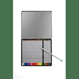 Lápiz de colores 24 colores caja metal