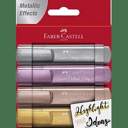 Destacadores Metálicos 4 colores Faber Castell