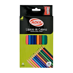 Lápiz 12 Colores Jumbo Triangulares Con Sacapunta Adix