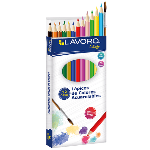 Lápices 12 colores acuarelables Lavoro