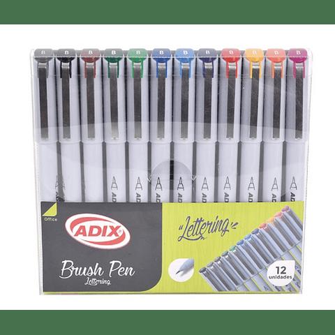 Set Lapices Lettering Brush Pen Punta Fina 12 Colores Adix