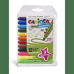 Plumones 12 Colores Mini Carioca