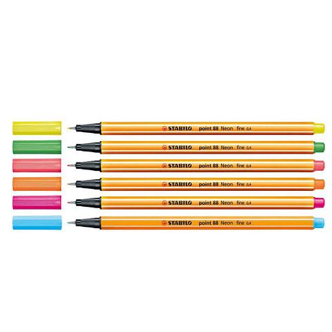 Set Stabilo 6 Colores Neon Point 88