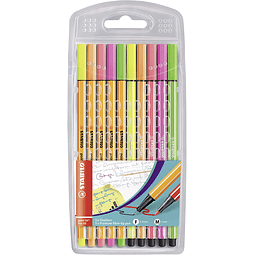 Set Stabilo 10 Colores Neón Point 88 Pen 68