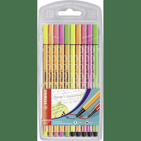 Set Stabilo 10 Colores Neón Point 88 Pen 68