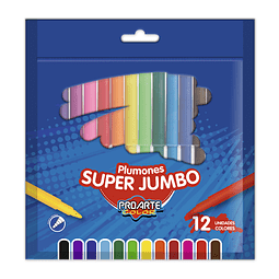 Plumon 12 Colores Super Jumbo Proarte