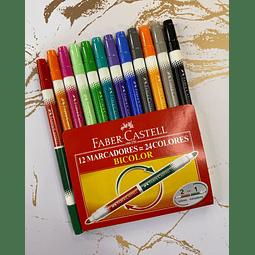 Plumones Bicolor 24 Colores Faber Castell
