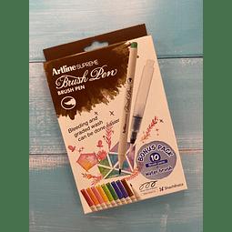 Brush Pen Punta Fina 10 Colores con Water Brush Artline