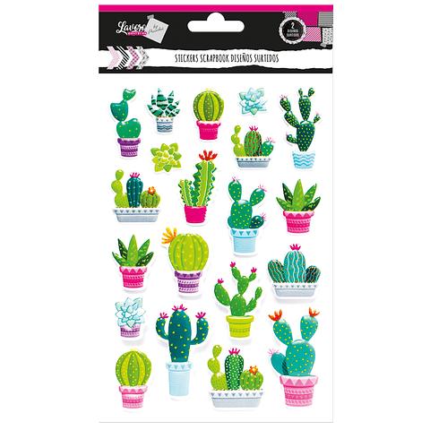 Stickers Scrapbook Cactus Y Perezoso Lavoro