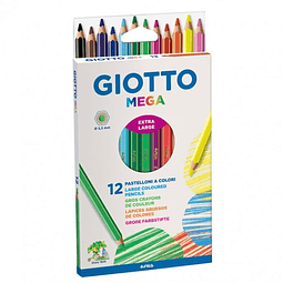 Lápices 12 colores Jumbo Hexagonales Mega Giotto