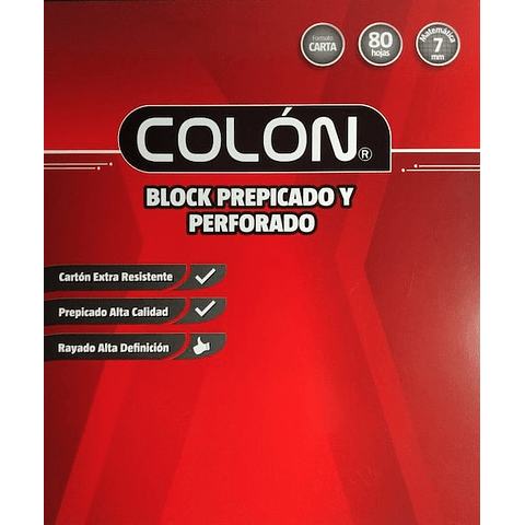Block Prepicado 7mm Carta Colon