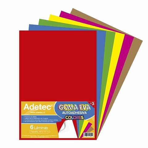Sobre Goma Eva Autoadhesiva 6 Colores Adetec