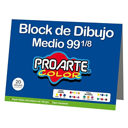 Block Dibujo Medio 99 1/8 20 Hojas Proarte