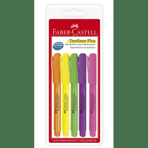 Destacadores 5 colores Neón Delgado Faber Castell