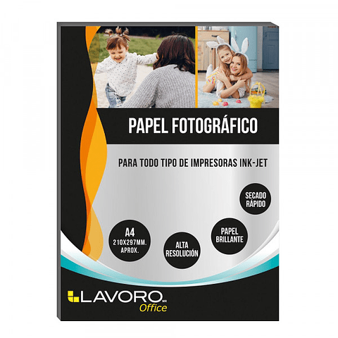 Papel Fotográfico Glossy A4 180GR 20hojas Lavoro