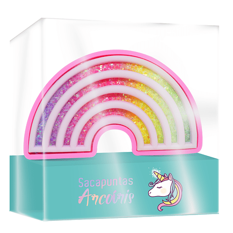 Sacapunta Arcoiris Plástico Con Brillo