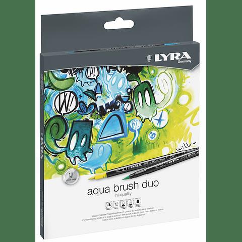 Set Aqua Brush Duo 12 Colores Lyra
