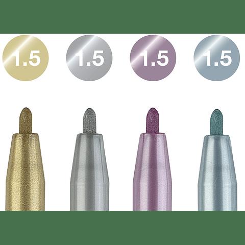 Set 4 Pitt Artist Pens Metallic Faber Castell
