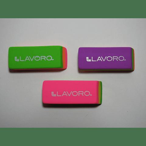 Goma de borrar plástica tricolor neón Lavoro