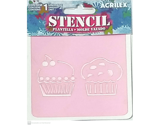 STENCIL 10X10CM CUPCAKE ACRILEX