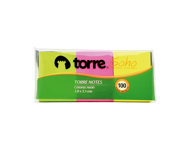 TACO APUNTES 38X51MM.100HJS. NEON MIX TORRE
