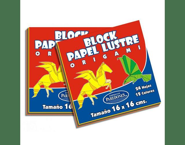 BLOCK PAPEL LUSTRE 16X16 24HOJAS 12 COLORES