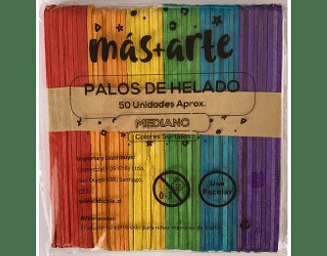 PALOS DE HELADO MAS+ARTE COLORES 50 UNIDADES