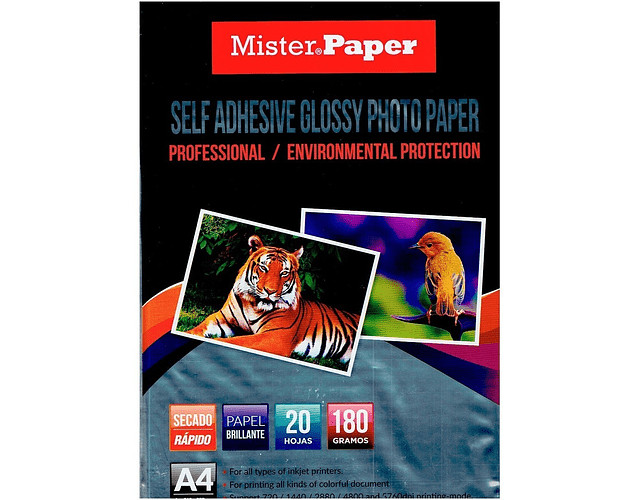 PAPEL FOTOGRAFICO ADHESIVO MISTER PAPER A4 180GRS. 20 HOJAS