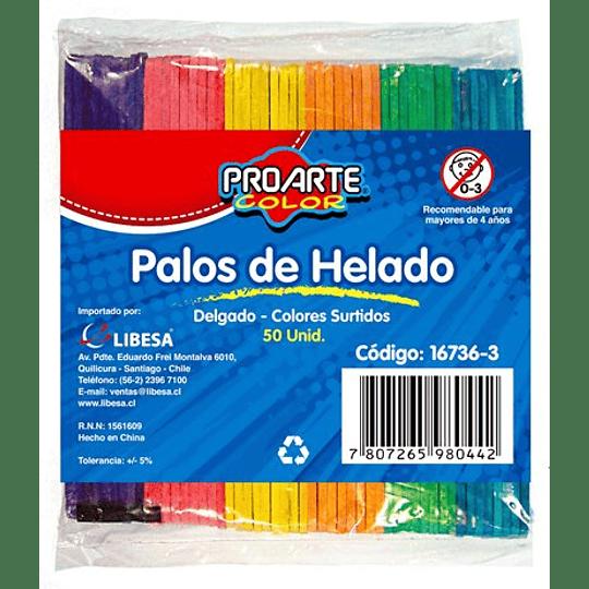 PALOS DE HELADO COLOR 50 UNIDADES