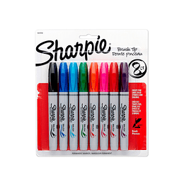MARCADORES BRUSH TIP 8 COLORES