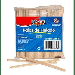 PALOS DE HELADO MADERA 50 UNIDADES