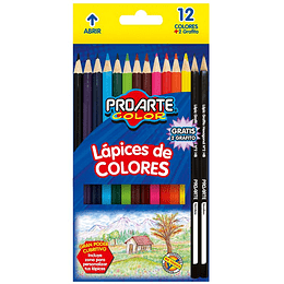 LÁPICES COLORES 12 + 2 GRAFITOS