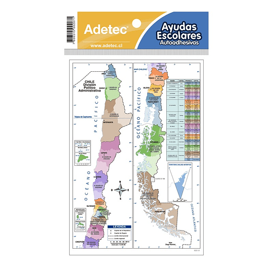 MAPA DE CHILE AUTOADHESIVO 19 X 13 CM 1 HOJA