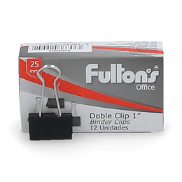 CLIPS DOBLE NEGRO 12 UN 25 MM
