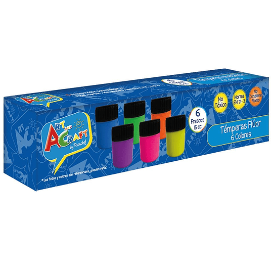TEMPERA FLUOR 6 COLORES 15ML