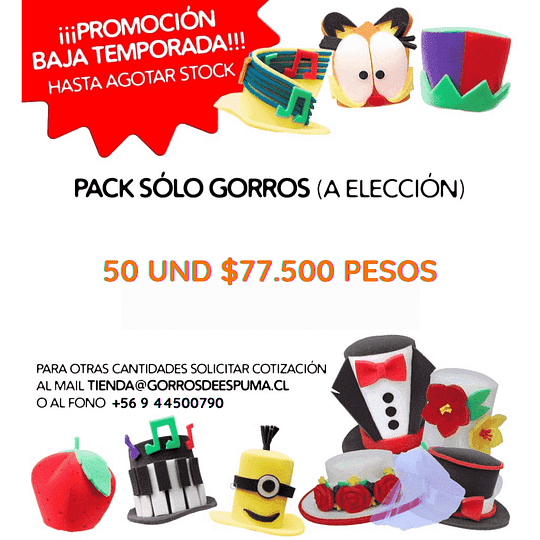 PACK PROMOCIÓN 50 GORROS DE ESPUMA
