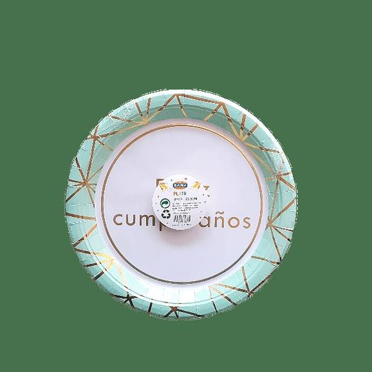 PLATO CARTÓN LÍNEAS FOIL 23.5 CM (6 PZS)