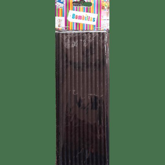 BOMBILLA DE PAPEL COLOR NEGRO (25 UDS)