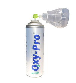Oxígeno Medicinal/Deportivo 99,5% Portátil/Enlatado 8L y 80 dosis OXY-PRO
