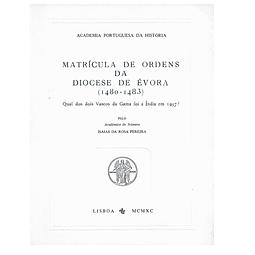 Matrícula de Ordens da Diocese de Évora (1480-1483)