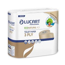 Papel Higiénico Econatural Zero Plastic  triple hoja 1 Paquete de 4 Rollos de 30 MT C/U.
