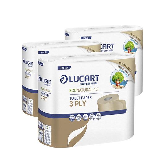 Papel Higiénico Econatural Zero Plastic triple hoja 3 Paquetes de 4 Rollos de 30 MT C/U.