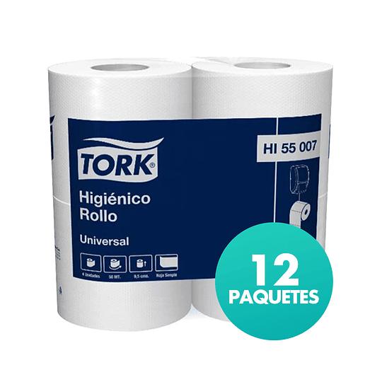 Papel Higiénico Rollo H/S Tork Universal en Bolsa de 12 Paquetes de 4 Rollos de 50 MTS.