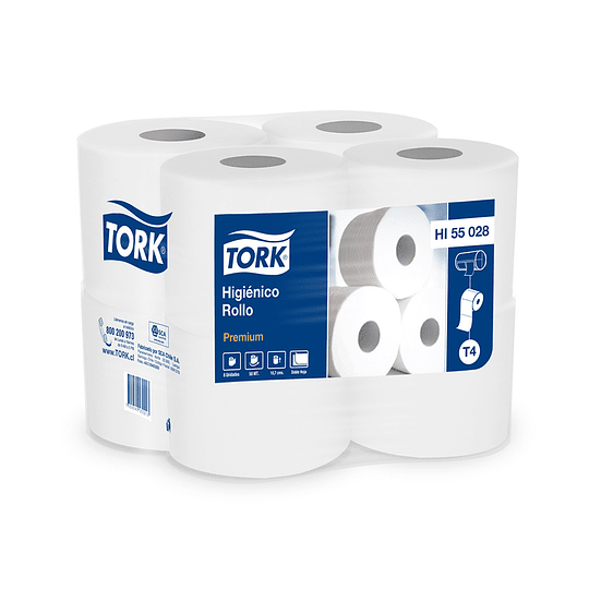 Papel Higiénico Tork Premium 8 Rollos de 50 MTS D/H.